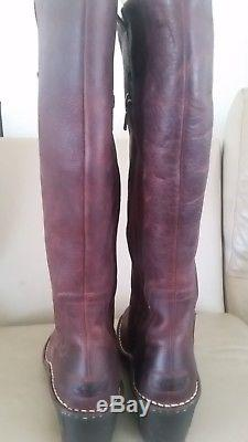 UGG BROWN Nubuk LEATHER TALL riding BOOTS WOMENS SIZE 7 wedge zipper $289