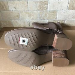 UGG Bandara Mysterious Suede Stacked Heel Riding Zip Tall Boots Size 9.5 Womens