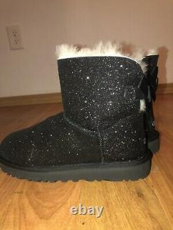 UGG Womens Size 10 Black Mini Bailey Bow Sparkle Glitter Boots 1100053 NEW