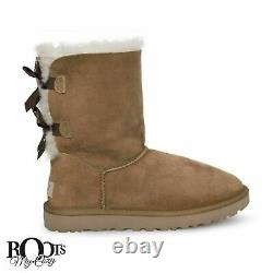 Ugg Bailey Bow II Chestnut Suede Sheepskin Women's Boots Size Us 11/uk 9 New