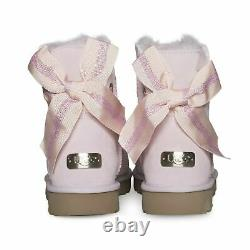 Ugg Customizable Bailey Bow Mini Seashell Pink Suede Womens Boots Size Us 8 New