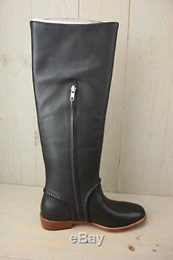 Ugg Gracen Whipstitch Black Leather Tall Riding Boots Womens Us 8.5 Nib