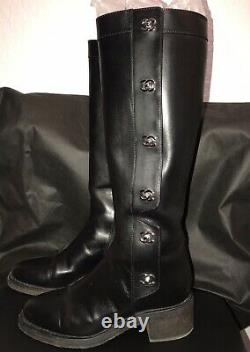 VHTF CHANEL Black Leather Classic CC Silver Turnlock Riding Tall Boots 40 8.5 9