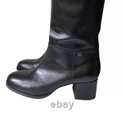 VHTF New CHANEL Leather Knee High CC Black Riding Tall Boots 40 8.5 9 Italy