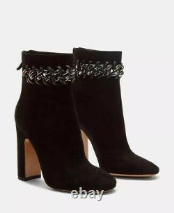 Valentino Whip Stitched Chain Black Suede Ankle Boots Size 36.5EU/6.5US $1195.00