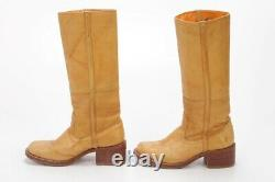 Vintage Frye Campus Stitch Tall Riding Boots Leather Saddle Style #77370 Sz 7.5