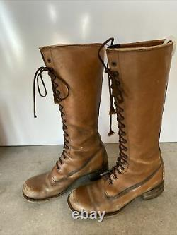 Vintage Frye Tall Lace Up Women Sz 8 1/2 Cognac Riding Boots Made in USA Leather