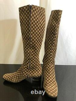 Vintage Italian Brown Beige Checkered Print Leather Knee High Boots Size 37 6.5