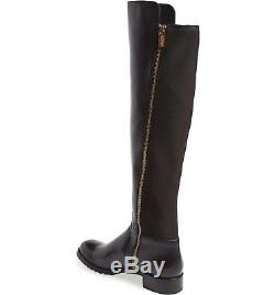 WOMENS MICHAEL KORS BOOTS Joanie Stretch Knee High Leather Riding Zip Black 10 M
