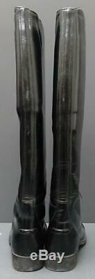 Women Ariat Black Leather Tall Pull On Lace Up Equestrian Tall Riding Boot 10M