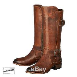 Women's Chocolate Handmade Leather American Riding Boots Lane Boots of Texas