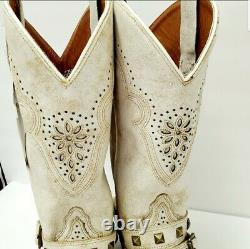 Women's Dan Post 12 Off White withStraps Western Boots Snip DP4063 size 7.5M