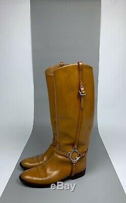 Women's GUCCI G Logo Brown Tan Leather Knee Boots Shoes Size 38,5 Riding Bootie