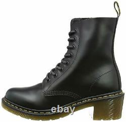Women's Shoes Dr. Martens CLEMENCY 8 Eye Leather Boots 14638003 BLACK SMOOTH