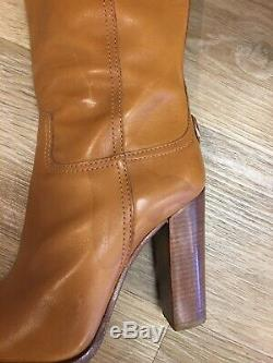 Women's TORY BURCH Brown Leather Tall Boots with Heel Size 6.5 M
