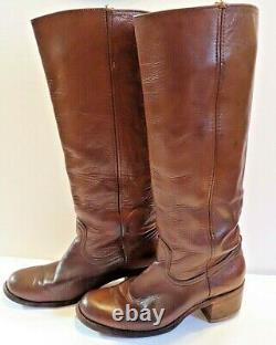 Women's Vintage Frye Campus Riding tall leather boots brown sz 9 B