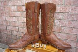 Womens 6.5 B Lucchese 1883 Tan Full Quill Ostrich Snip Toe Western Cowboy Boots