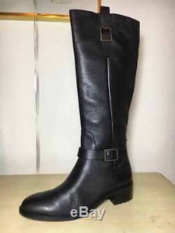 Womens Cole Haan Kenmare II 40mm Black Leather Knee High Riding Boot Size 8 US