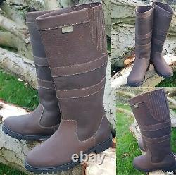 Womens Ladies Riding Leather Horse Dog Walking Country Waterproof Boots Size 3-8