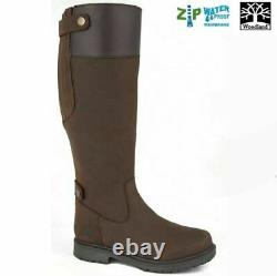 Womens Woodland Waterproof Breathable Waxy Leather Riding Country Boots Zip 4-10
