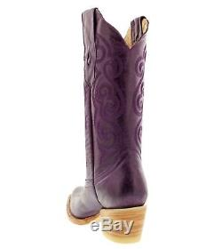 Womens caroline purple western leather cowboy boots rodeo cowgirl ladies riding