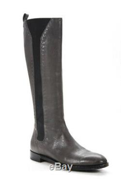 Yves Saint Laurent Womens Knee High Riding Boots Gray Leather Size 38 8